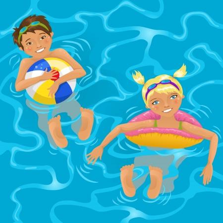 enfant maillot de bain: Deux enfants dans l'eau