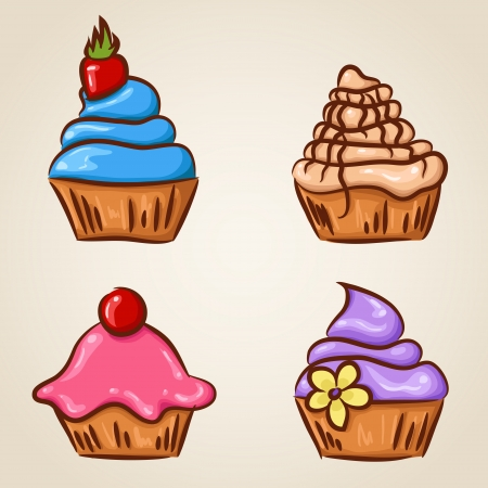 cream pie: Set of four cute sketchy hand-drawn cupcakes Illustration