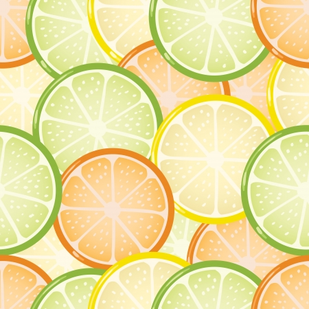 Seamless citrus background with limes, lemons and oranges Vector