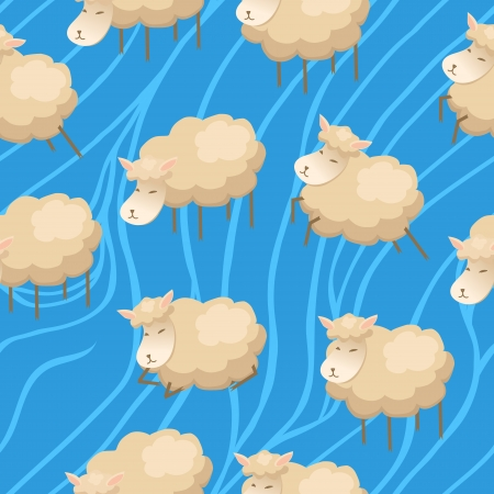 Seamless cute lambs clouds wallpaper Vector
