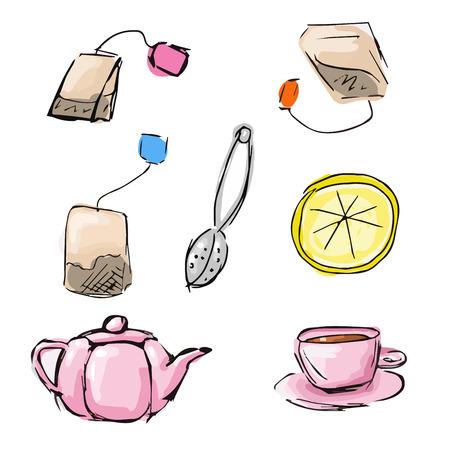 teabag: Handdrawn sketch of cute tea icons