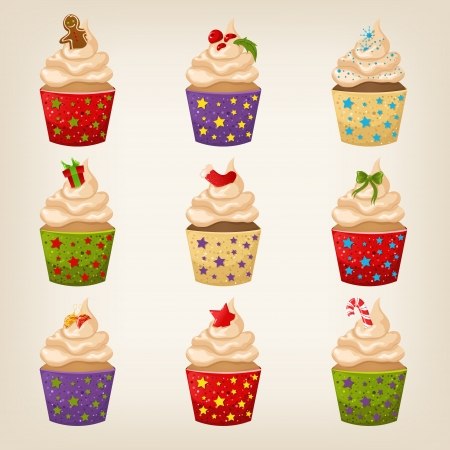 Set of cute vector Christmas cupcakes Vector