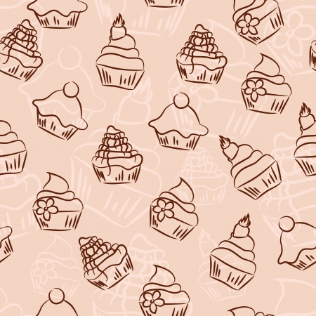 Seamless retro sketchy cupcake background Vector