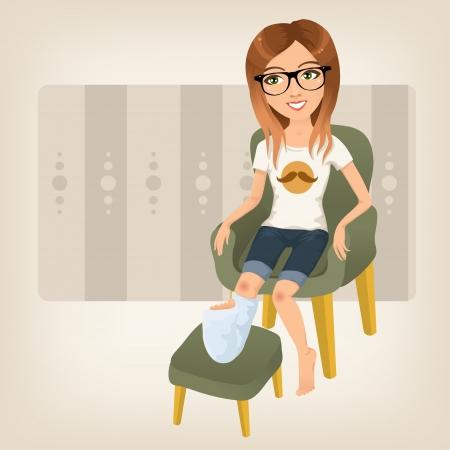 dolore ai piedi: pantaloni a vita bassa ragazza con la gamba rotta seduto su una poltrona