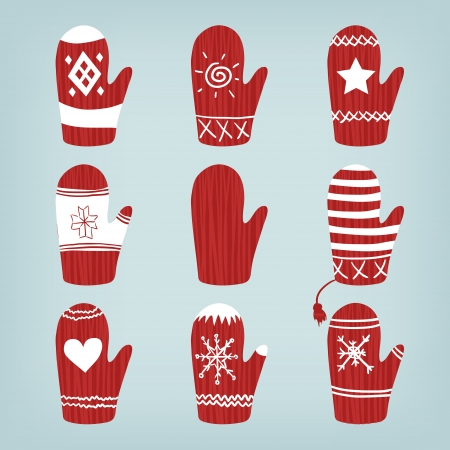 Set of Christmas Red Warm Mittens