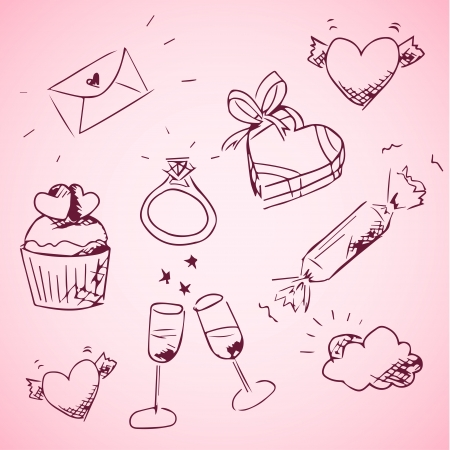 Cute sketchy valentine day icons Vector