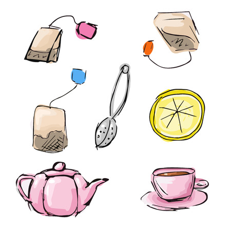 infuser: Handdrawn sketch of cute tea icons