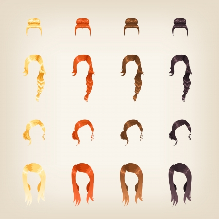 long straight hair: Set of different female hairstyles in 4 colors
