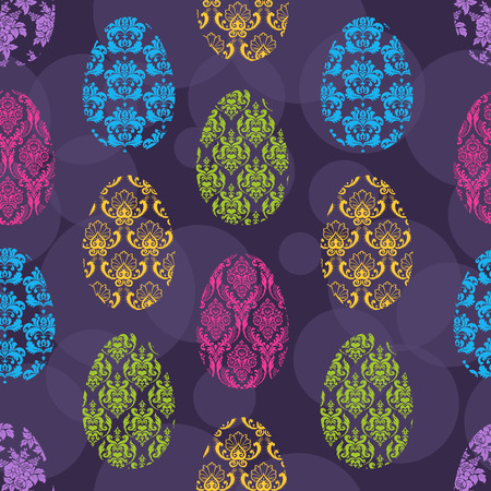Cute seamless background with different color Easter Eggs Vector
