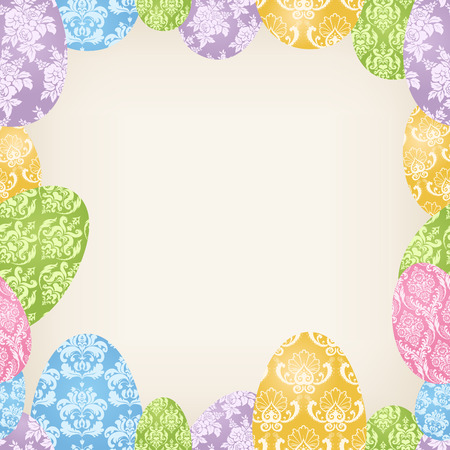 Cute seamless frame with colorful Easter Eggs Vector