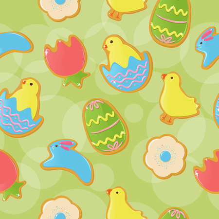 Seamless background with cute Easter themed cookies Vector