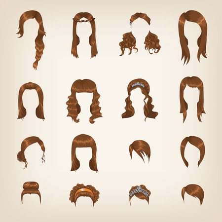 Set of sixteen different brown hairstyles for women Vector