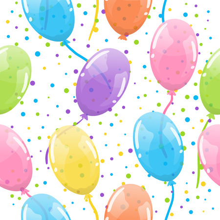Seamless party background with colorful and transparent ballons Vector