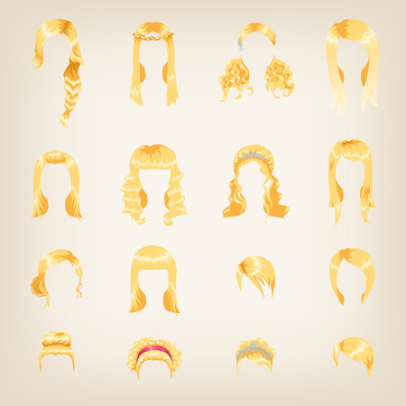 long straight hair: Set of sixteen different blond hairstyles for women Illustration