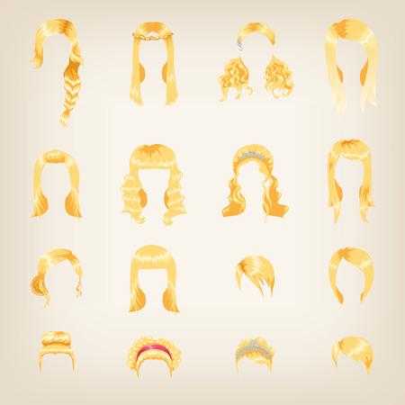 Set van zestien verschillende blonde kapsels voor vrouwen Vector Illustratie