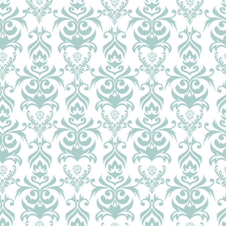 Seamless turquoise and white damask background Illustration