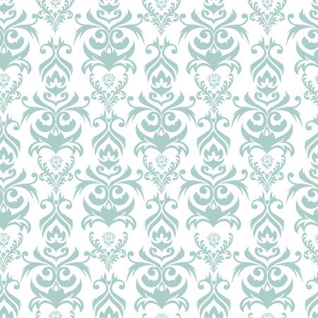 tiffany blue: Seamless turquoise and white damask background Illustration
