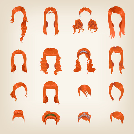 Set of sixteen different red hairstyles for women Vector