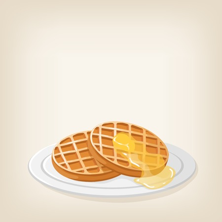 maple syrup: Adorable waffles with a piece of butter on top