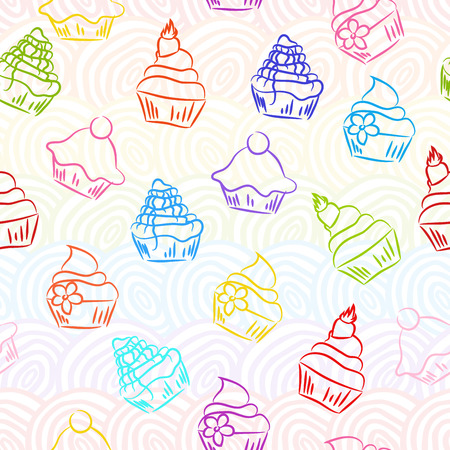 cream pie: Seamless retro sketchy cupcake background