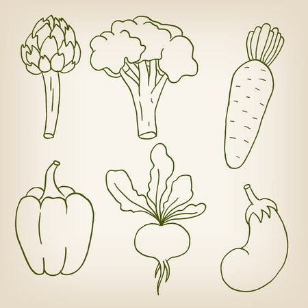 artichoke: Set of six cute hand drawn vegetables Illustration