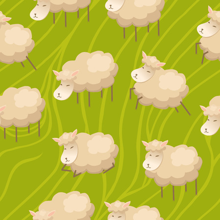 Seamless background with cute lambs on the green field Vector