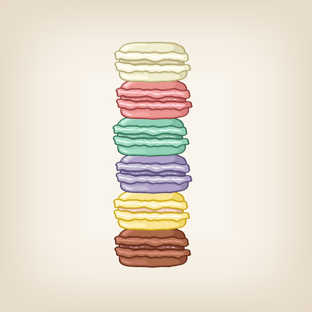 pastel colored: stack of cute pastel colored macaroons Illustration