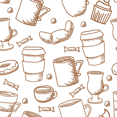seamless coffee cups and mugs pattern Vector