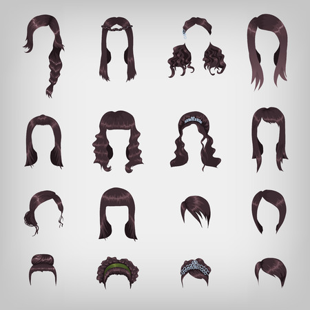 Set of sixteen different black hairstyles for women Vector