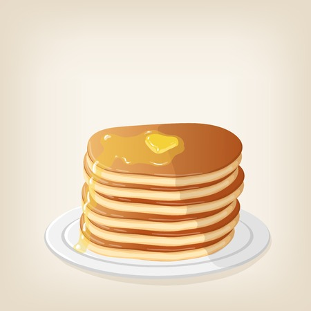 maple syrup: Adorable pancakes with a piece of butter on top