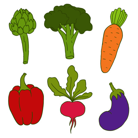Set of six cute hand drawn vegetables Vector