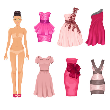 dress-up doll with an assortment of pink prom and cocktail dresses
