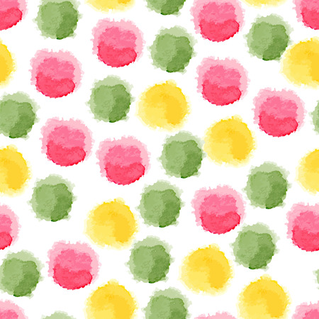 Seamless background with colorful watercolor dots Vector