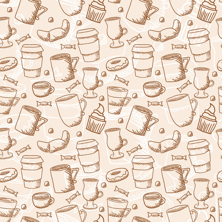 Vector seamless sketchy doodle style coffee cups and mugs background Vector