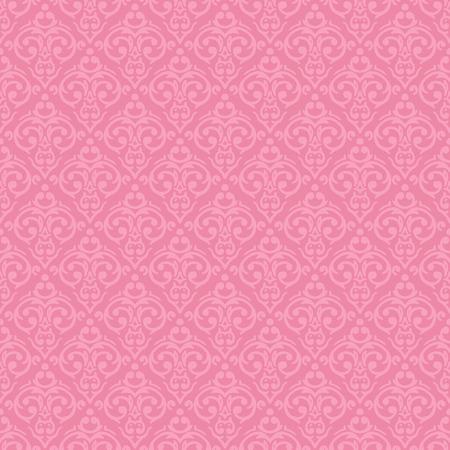 シームレスのバロック ダマスク織高級のピンクのベクトルの背景