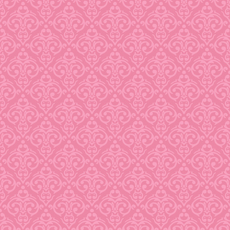 Vector seamless baroque damask luxury pink background Ilustração