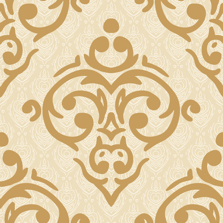 Vector seamless baroque damask luxury golden background Vector