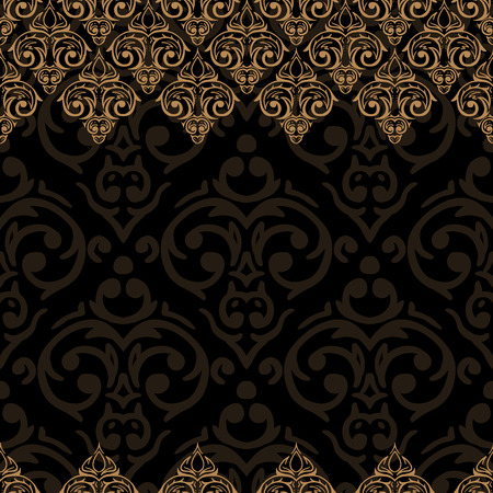 golden border: Vector seamless baroque damask luxury black and golden border frame