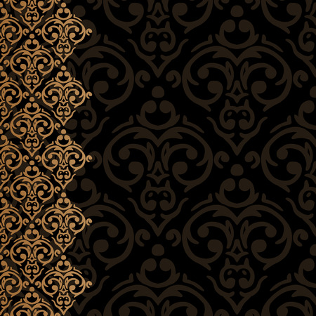 Vector seamless baroque damask luxury black and golden border frame Vector