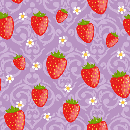 Vector cute purple Seamless strawberries background Vector