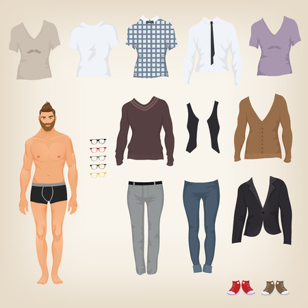 clothes cartoon: Vector hipster dress up doll with an assortment of hipster clothes