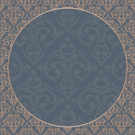 Vector seamless baroque damask luxury gold and blue background Vector