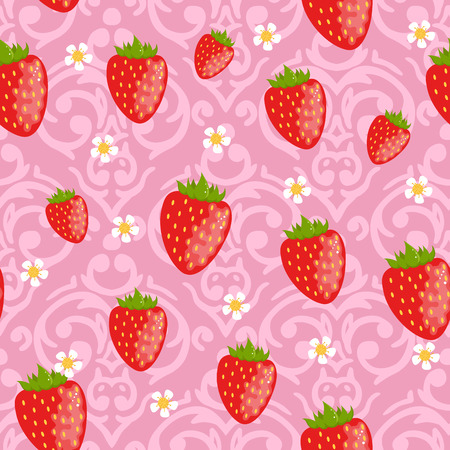 strawberry plant: Vector seamless damask pattern with cute strawberries Illustration