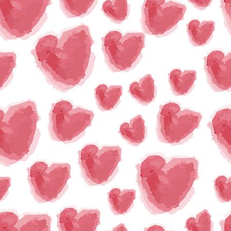 fuchsia: Vector seamless watercolor hearts background