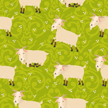 Vector seamless cute goats pattern  Çizim