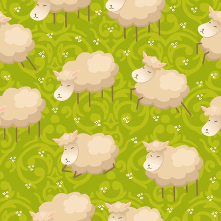 Vector seamless pattern with adorable lambs  Vector