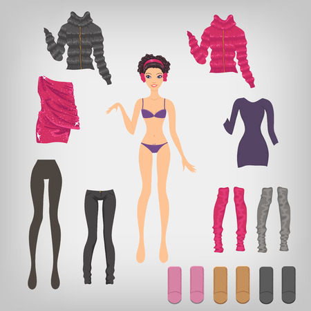warm clothing: Vector dress up paper doll with an assortment of winter clothes