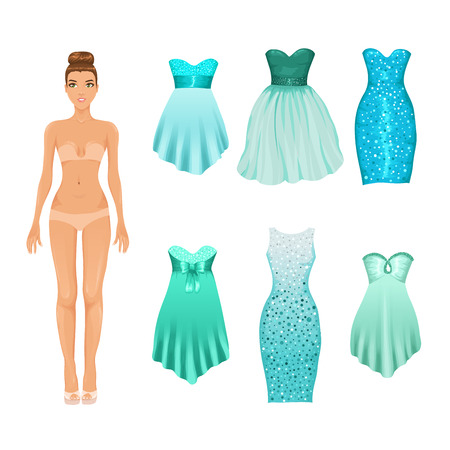 Vector dress-up doll with an assortment of turquoise prom and coctail dresses