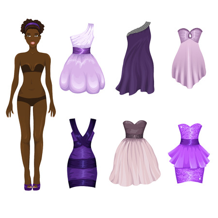 prom dress: Vector dress-up doll with an assortment of pink prom and coctail dresses
