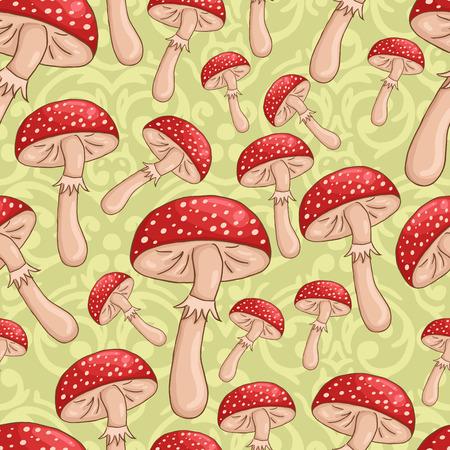 Vector cute seamless sketch  amanita mushrooms background Vector